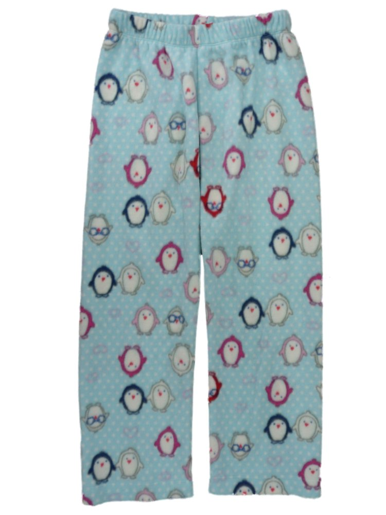 Girls Blue Polka Dot Fleece Sleep Pants Penguin Pajama Bottoms Lounge L