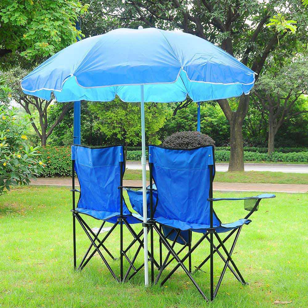 Cool Yescom Double Folding Chair W Umbrella Table Cooler Picnic Camping Machost Co Dining Chair Design Ideas Machostcouk