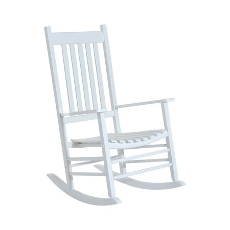 Outsunny Porch Rocking Chair - Outdoor Patio Wooden Rocker - White