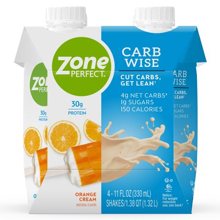 ZonePerfect Carb Wise High-Protein Shakes, Orange Cream Flavor, For A Low Carb Lifestyle, With 30g Protein, 11 fl oz, 12