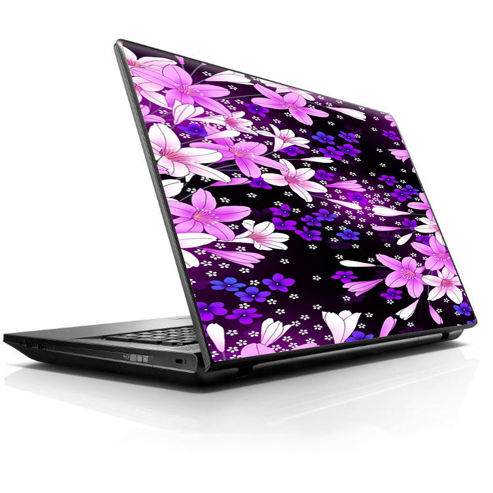 """Laptop Notebook Universal Skin Decal Fits 13.3"""" To 16"""" / Purple Pink Flowers Lillie"""
