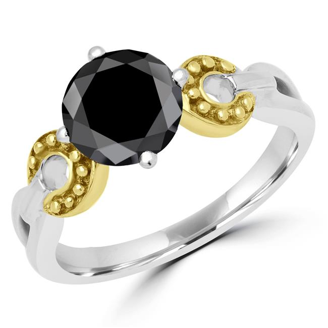 Majesty Diamonds MD170445-6.25 1.6 CT Round Black Diamond Solitaire Cocktail Ring in 14K White Gold - Size 6.25 - image 1 of 1