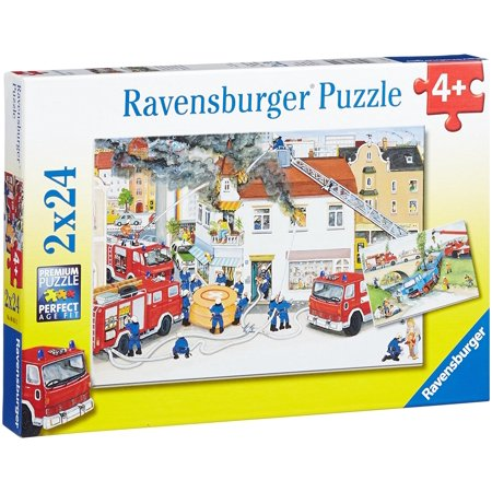 With the Fire Brigade - (2 x 24) Piece Jigsaw Puzzles - Ravensburger