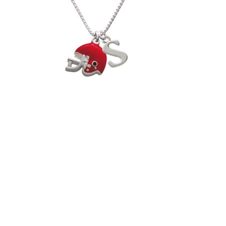 Silvertone Small Red Football Helmet Capital Initial S Necklace - Small Football Helmets