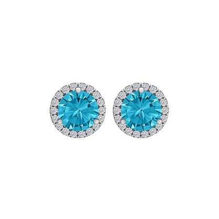 Blue Topaz CZ Round Halo Stud Earrings Sterling Silver - image 2 of 2