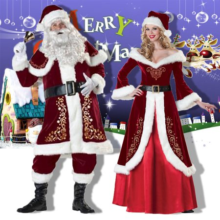 Adult Men Women Santa Claus Christmas Suit Costume Set for Party (Best Cosplay Costumes 2019)