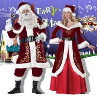 Adult Men Women Santa Claus Christmas Suit Costume Set for Party Cosplay