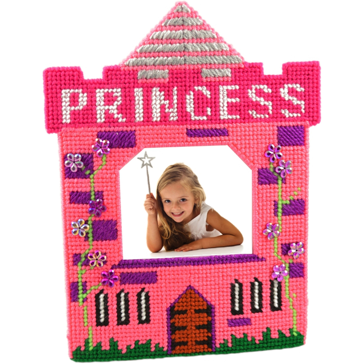 "Princess Pink Framous Plastic Canvas Kit-3.1""X2.8"" 10 Count"