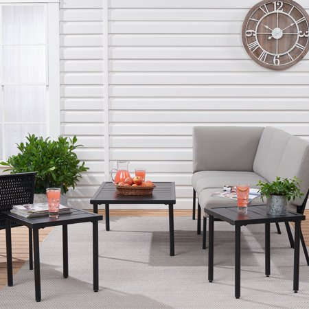Mainstays Dagna 3-Piece Patio Coffee Table and Side Table Set Side Table Sets Patio Tables