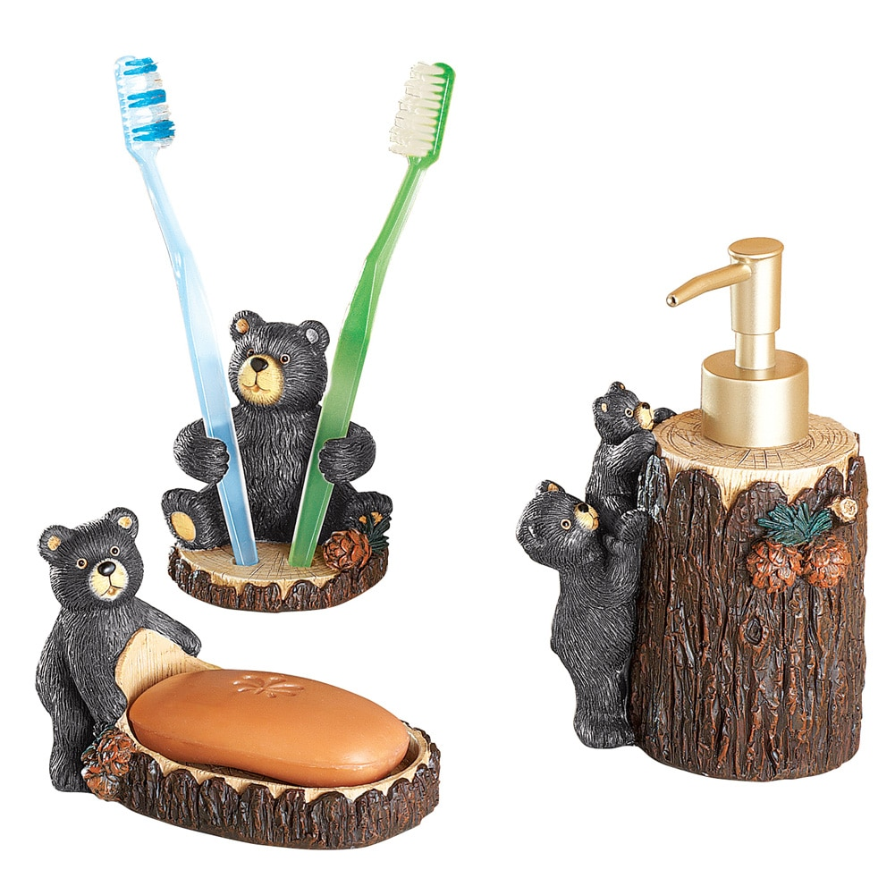 Woodland Bear Bath Accessories Set Of 3 by Collections Etc