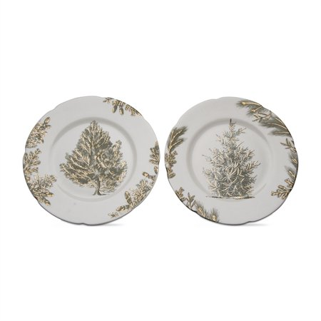 Tag Archival Trees Appetizer Plates (Set of 2) - Evergreen - Appetizer Plate Set Tag