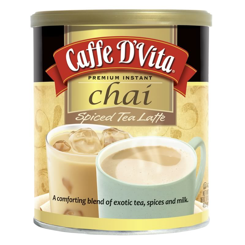 Caffe D'Vita Enchanted Chai Spiced Tea Latte,16 Oz (Pack