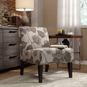 Weston Home Classic Gray Flower With Leaves Lounger Chair - Rich Espresso