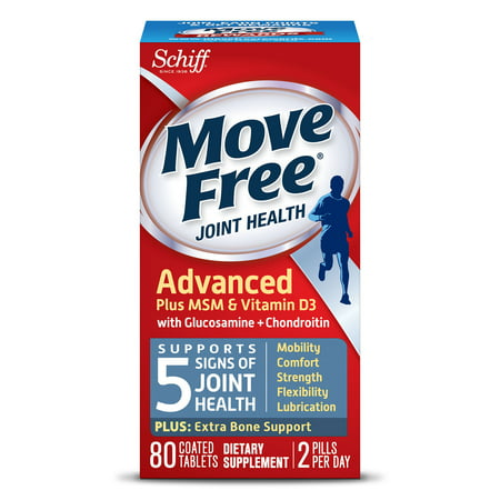 (2 pack) Move Free Advanced Plus MSM and Vitamin D3, 80 count - Joint Health Supplement with Glucosamine and Chondroitin ()