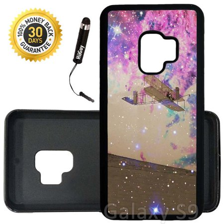 Custom Galaxy S9 Case (Wright Brothers First Flight to Space) Edge-to-Edge Rubber Black Cover Ultra Slim | Lightweight | Includes Stylus Pen by Innosub (Space Flight Block)