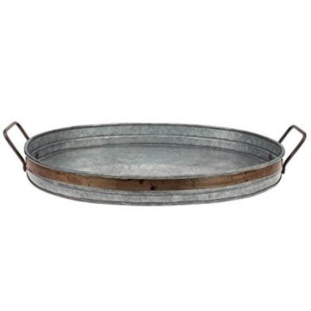 Stonebriar Collection Aged Galvanized Tray With Rust Metal Trim And Handles