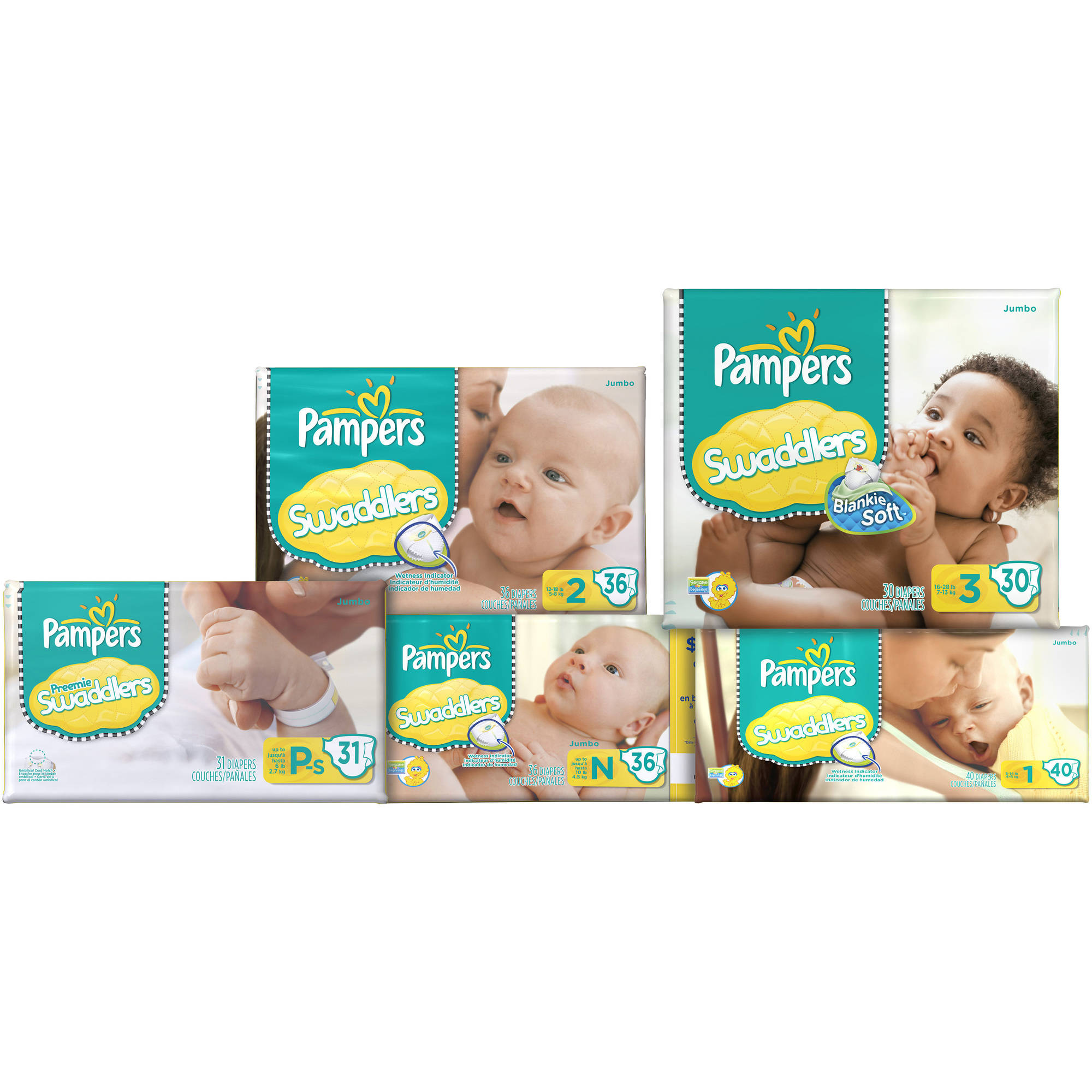 Pampers Stages Preemie Swaddlers New Baby Size Petite-Small Diapers - 31 CT