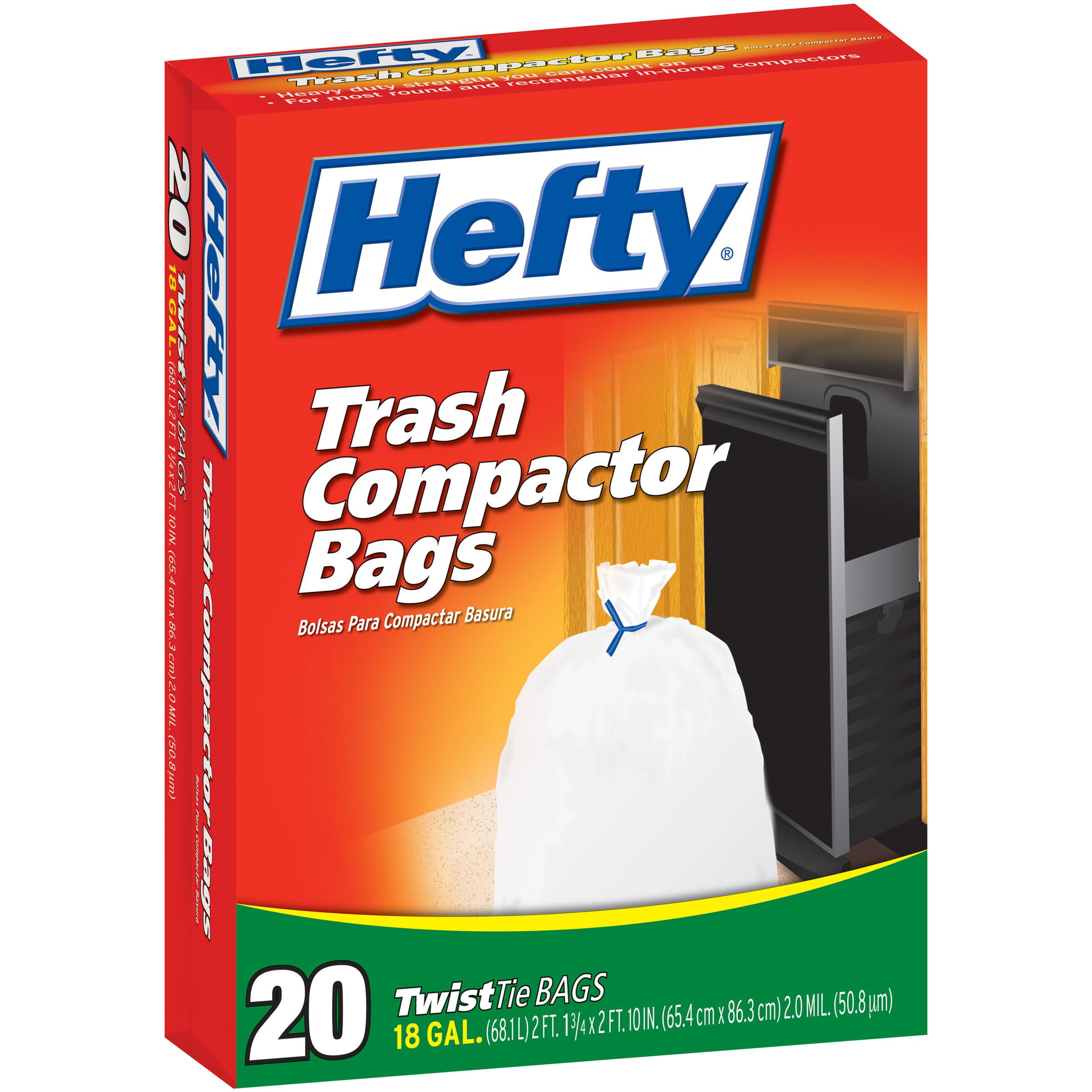 HEFTY TWISTTIE Trash Compactor 18 Gallon Trash Bags 20 CT BOX
