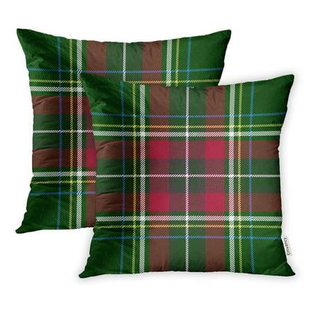 - CMFUN Blue Tartan Green Red Check Plaid Yellow Scotland Scottish Scarf Gingham White Black Pillowcase Cushion Cases 18x18 inch Set of 2