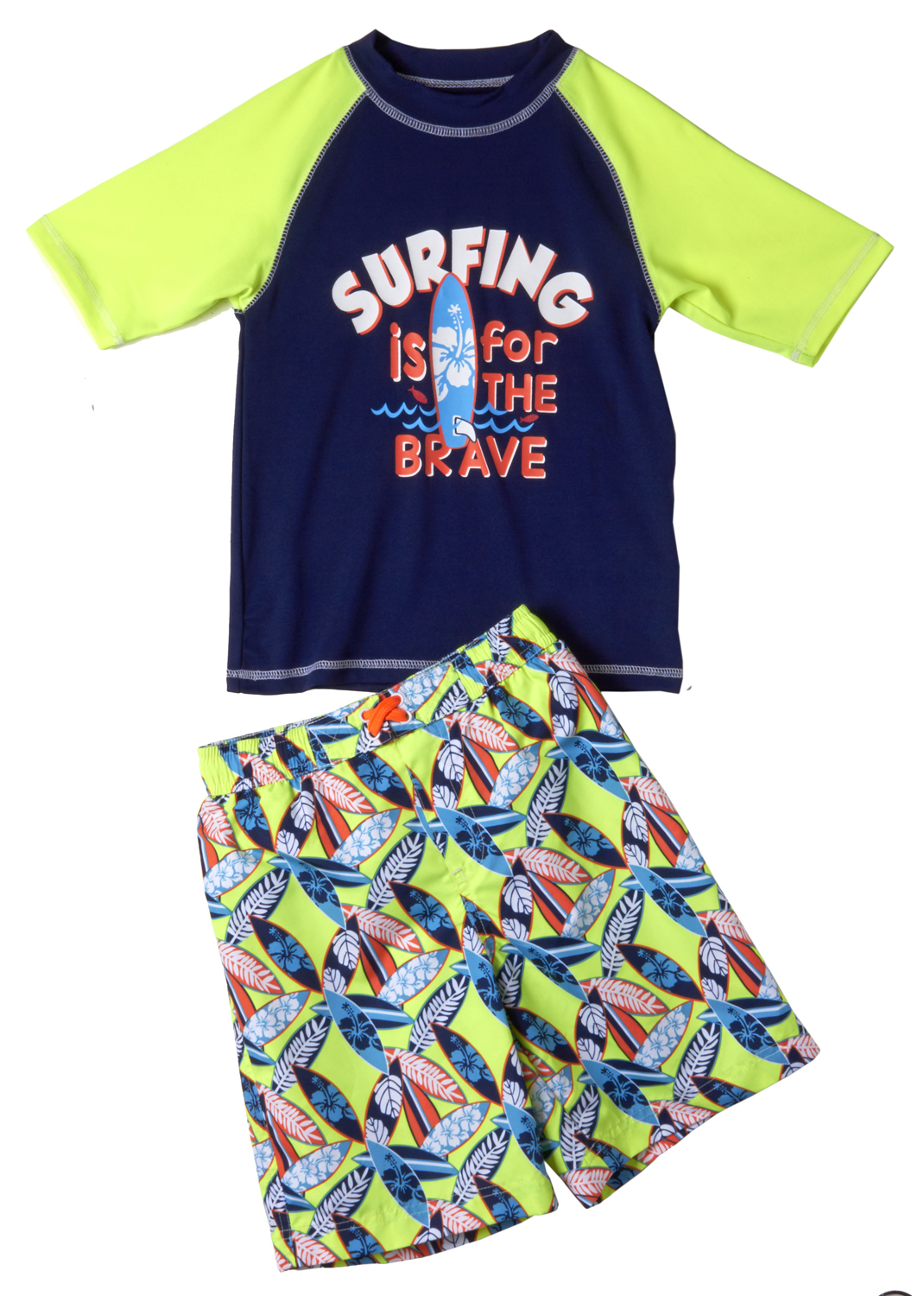 I.Xtreme Baby Toddler Boy Brave Surfing Rashguard & Swim Trunks, 2pc Set