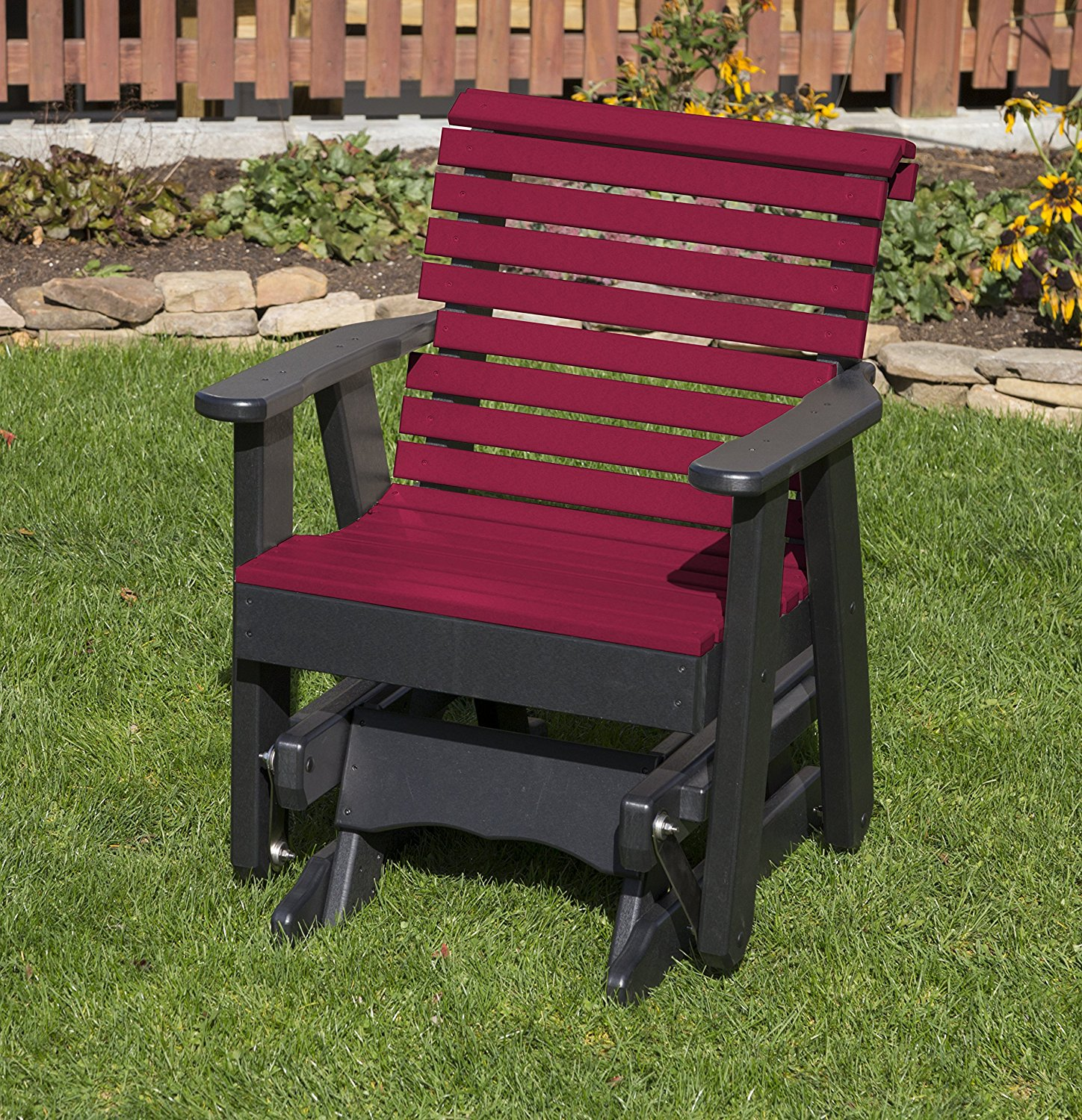 Outdoor Patio Garden Lawn Exterior Cherry Wood Finish Poly Lumber Roll Back 2 Ft Glider Everlasting Amish Crafted