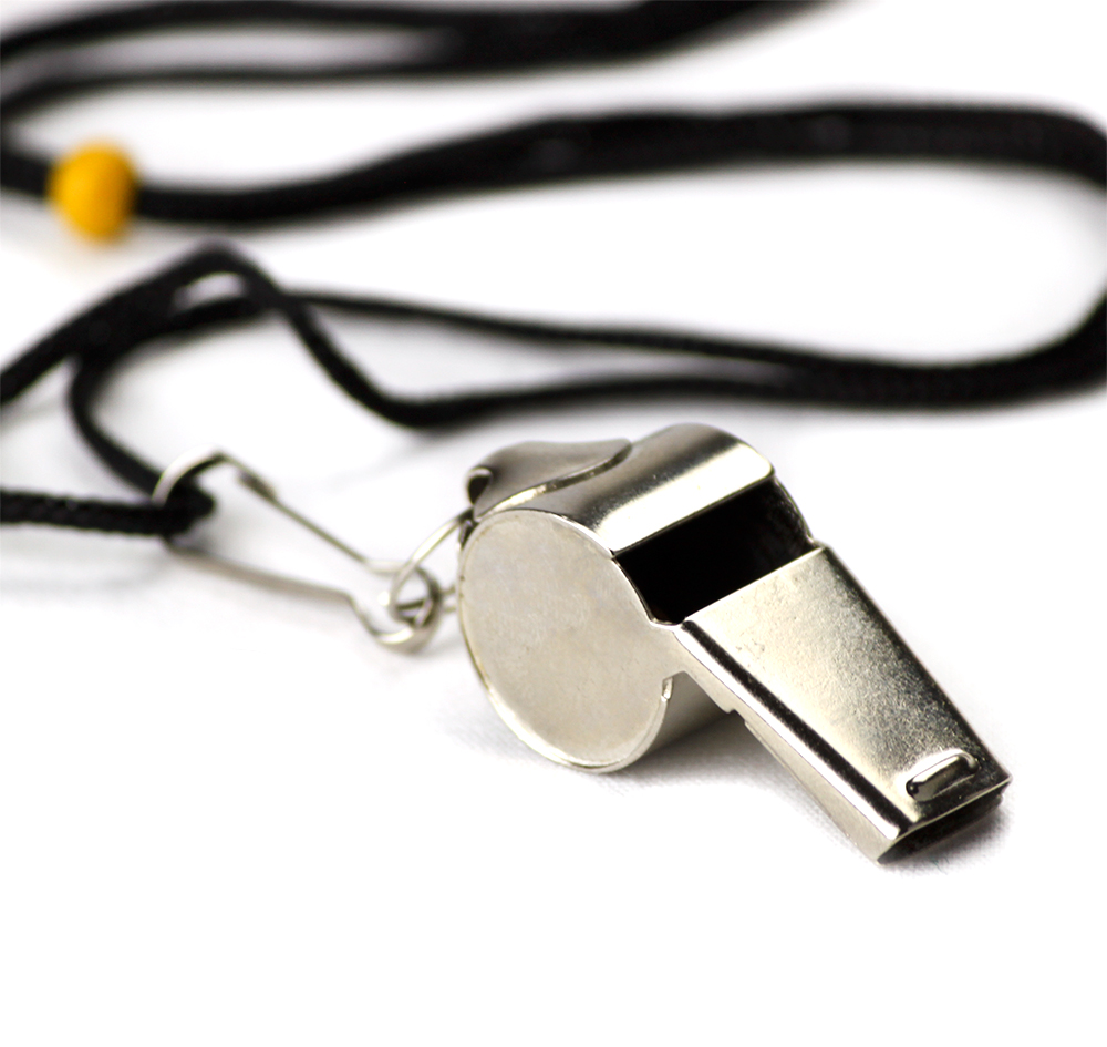 Crown Sporting Goods Stainless Steel Whistle with Lanyard – Great for Coaches, Referees, and Officials