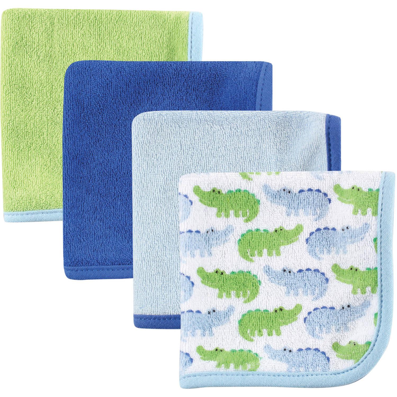 Luvable Friends Washcloths, 4pk, Blue Alligator