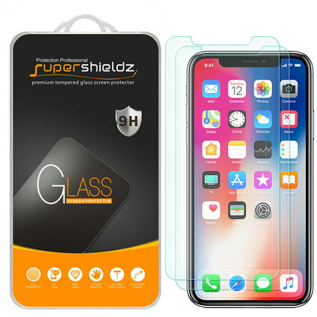 [2-Pack] Supershieldz Apple iPhone X Tempered Glass Screen Protector, Anti-Scratch, Anti-Fingerprint, Bubble