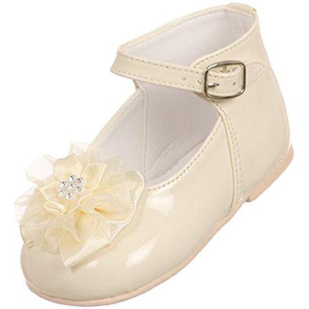 BNY Corner Baby Girls Patent Floral Stud High Top Toddler Infant Dress Shoes Ivory 0 Infant TR - Toddler Ivory Shoes