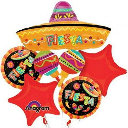 Spanish Fiesta Fun Party Mylar Foil Balloon Bouquet Set - Fiesta Parties