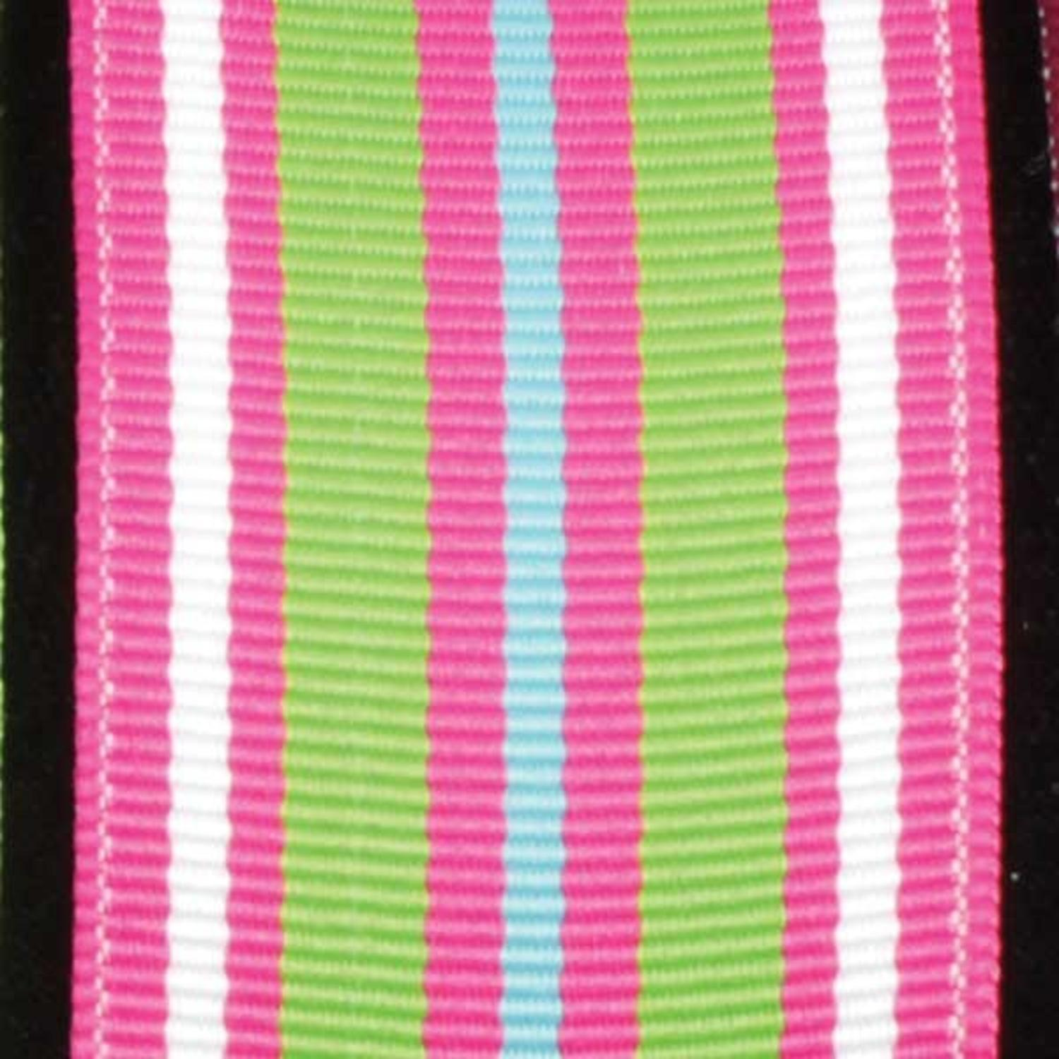 """Super Duper Stripes Pink and Green Grosgrain Wired Craft Ribbon 1.5"""" x 27 Yards"""