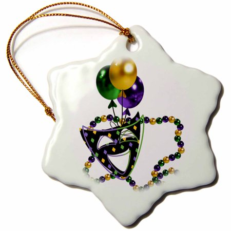 3dRose Mardi Gras Mask and Beads, Snowflake Ornament, Porcelain, 3-inch