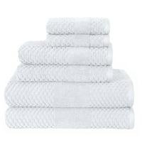 Sapphire Resort Harlequin Diamond Textured 6 Piece Bath Towel Set in White