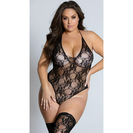 Lace Nylon Teddies (Women's Plus Size Sexy Stretch Lace Teddy and Thigh High Stocking 2 Piece Set )