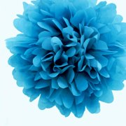 Quasimoon EZ-FLUFF 8'' Turquoise Tissue Paper Pom Pom Flowers, Hanging Decorations (4 Pack) (Pre-Folded) by PaperLanternStore