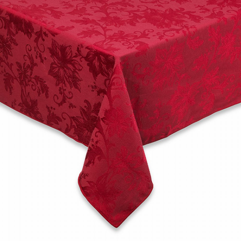 BB&B Holiday Joy Red Damask Flower Fabric Tablecloth Table Cloth 60x120 Oblong