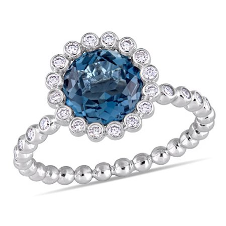 Tangelo 2-1/3 Carat T.G.W. London Blue Topaz and 1/4 Carat T.W. Diamond 14kt White Gold Halo Engagement Ring