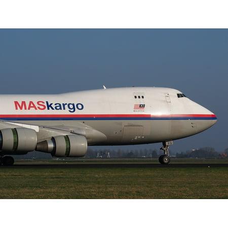 LAMINATED POSTER Boeing 747 Landing Jumbo Jet Malaysia Airlines Poster Print 24 x (Jumbo Jet Landing)