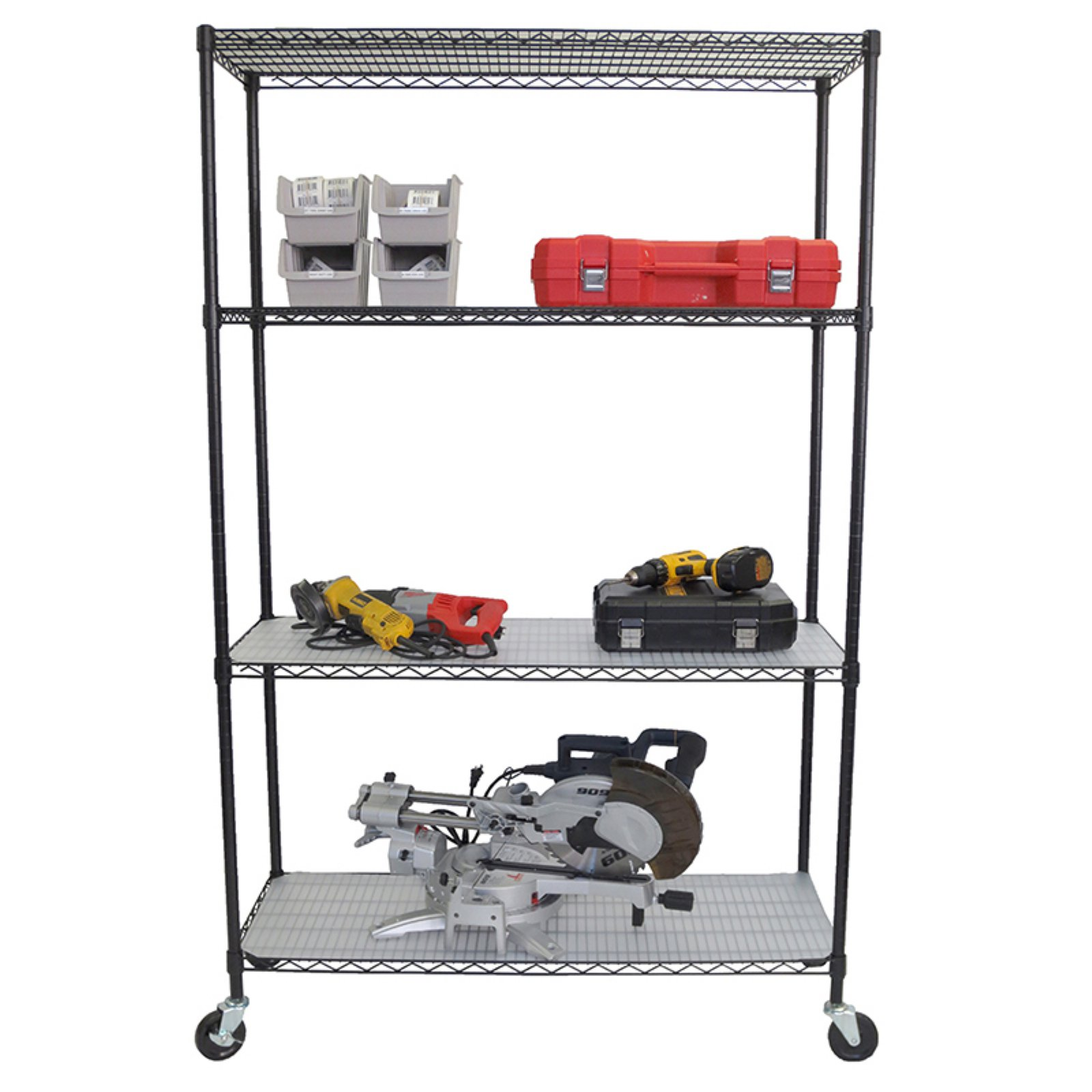 Trinity 4-Tier Wire Shelving Rack with Wheels and Liners, Black