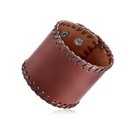 Men's Brown Leather Stitched Wide Cuff Bracelet (62mm) - 8.5