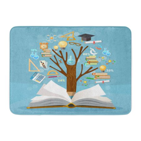 Polished Open Backed Bats - KDAGR Education Tree of Knowledge and Open Book Effective Modern Back to School Doormat Floor Rug Bath Mat 30x18 inch