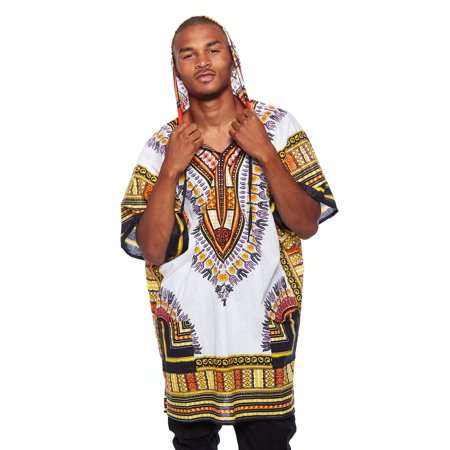 Mens African Swag Dashiki Loose Traditional Long Hoodie Top W/ -