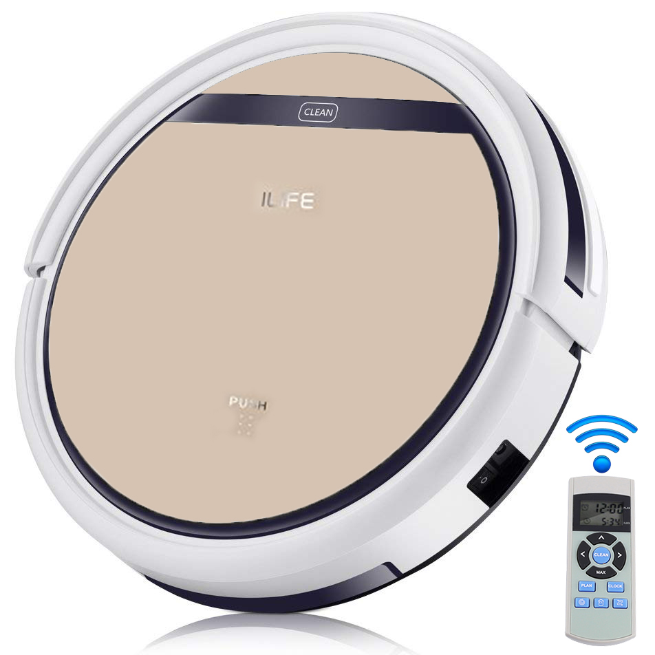 ILIFE V5S Pro Robot Vacuum and Mop, Robotic Vacuum Cleaner for Pet Hair with Water Tank, Remote Control, Self-recharging, Multi-task Schedule, Good For Hard Floor and Low Pile Carpet