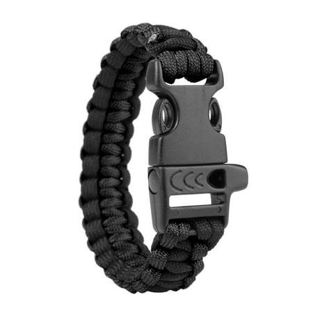 Mosunx Survival Bracelet Compass Flint Fire Starter Whistle Scraper Gear