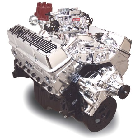 Edelbrock Crate Engine Edelbrock 9 0 1 Performer E-Tec w/ Short Water Pump w/ Polished Cyl (400 Crate Engine)