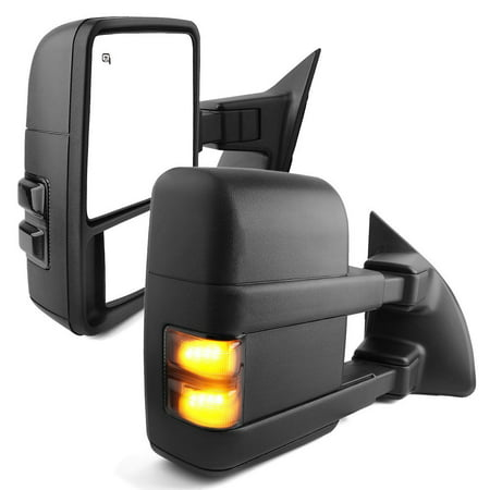 Duty New Manual Tow Mirror (Towing Mirrors for 08-15 Ford F250/F350/F450/F550 Super Duty LH&RH Pair SMOKE Power Heated with LED Signal Light Side Mirrors )