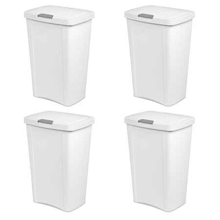 Champions Wastebasket (Sterilite, 13 Gal./49 L TouchTop Wastebasket, White , Case of 4)