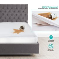 100% Waterproof Mattress Protector - Premium Cotton Terry Bed Cover - Hypoallergenic Mattress Cover - Fitts Mattresses Up to 18 inch, Queen