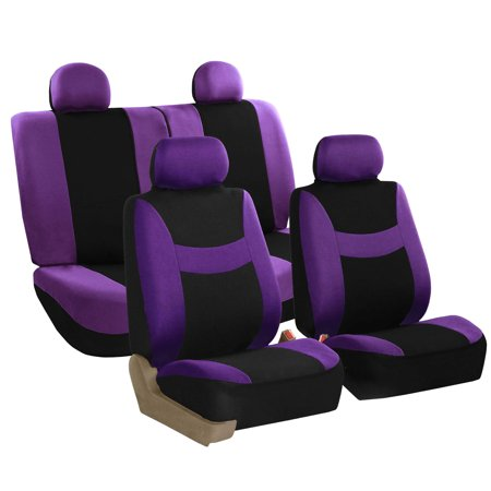 FH Group Light & Breezy Seat Covers for Auto, 4 Headrests Full Auto Seat Covers Set, Purple and Black