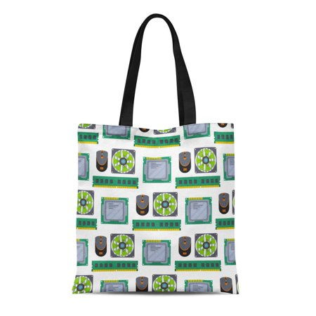 LADDKE Canvas Tote Bag Abstract Computer Chip Technology Processor Circuit Motherboard Information System Reusable Shoulder Grocery Shopping Bags (Chip Measurement System)